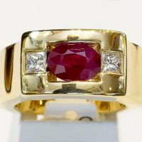 Bague or jaune rubis 2 diamants or 18 cts