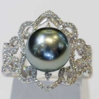 Bague perle et diamants or blanc 18 cts