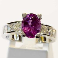 Bague saphir rose serti diamants or 18 cts